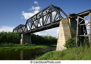 bataille, rivière, train, pont