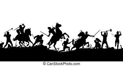 bataille, silhouette, scène