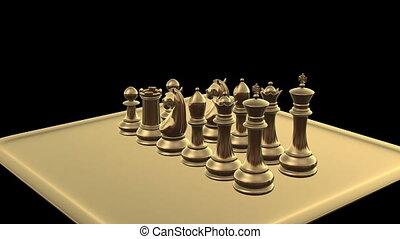 bataille, sur, commencer, échecs