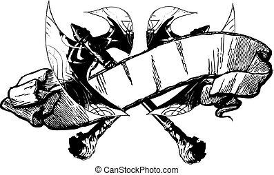 bataille, vecteur, bannière, hache