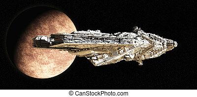 batalha, cruzador, partindo, órbita