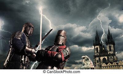 batalha, de, um, medieval, cavaleiros