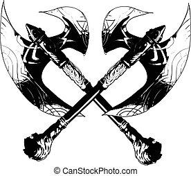 batalha, vetorial, desenho, machado