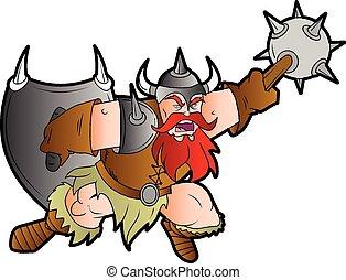 batalla, bárbaro, caricatura, enano