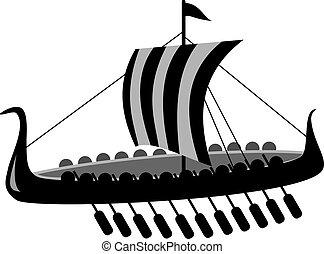 batalla, barco, antiguo, vector