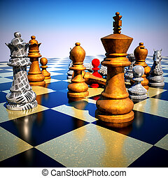 batalla, -defeat, ajedrez
