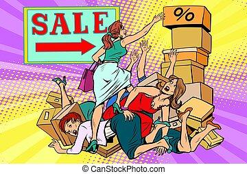 batalla, descuento, venta, mujeres