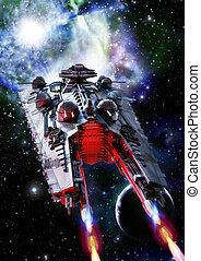 batalla, pesado, nave espacial, crucero