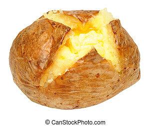batata assada, com, derretendo, manteiga