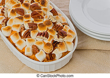 batata doce, com, marshmallows