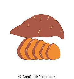 batata, dulce, ilustración, papa