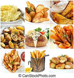batata, pratos, cobrança