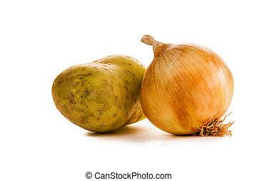 batatas, cebolas