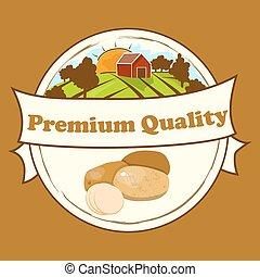 batatas, desenho, retro, etiqueta