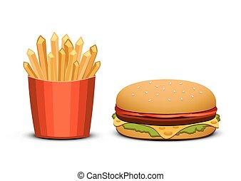 batatas fritas, e, hambúrguer, branco, experiência., rapidamente, alimento.