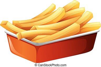 batatas fritas, em, vermelho, bandeja