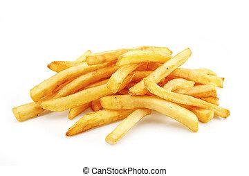 batatas fritas, isolado, branco