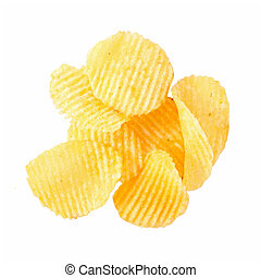 batatas fritas, isolado, branco, fundo