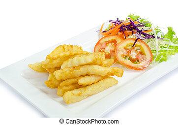 batatas fritas, ligado, prato, e, ketchup