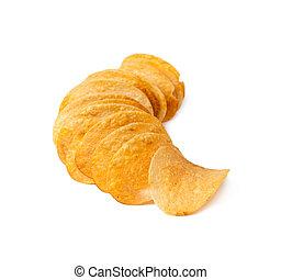 batatas fritas, ligado, um, fundo branco