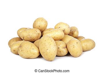 batatas, pilha, cru