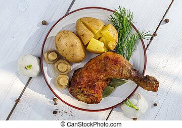 batatas, servido, galinha, jaquetas, perna