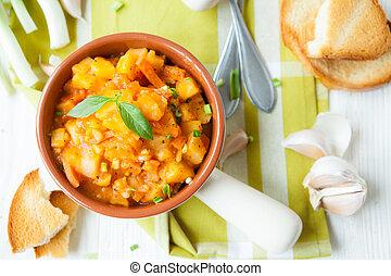 batatas, stewed, com, legumes, vista superior