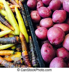 batatas vermelhas, e, coloridos, cenouras