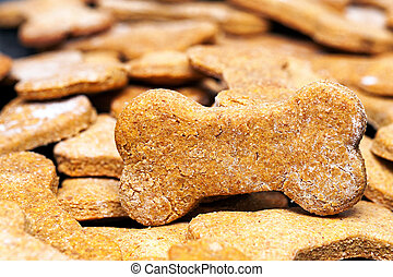 Large batch of bone-shaped homemade dog cookies with selective focus on one treat