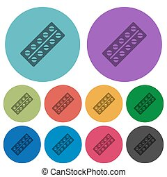 Batch of pills in blister pack color darker flat icons