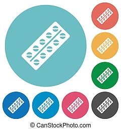 Batch of pills in blister pack flat round icons