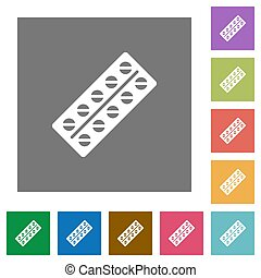 Batch of pills in blister pack square flat icons