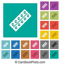 Batch of pills in blister pack square flat multi colored icons