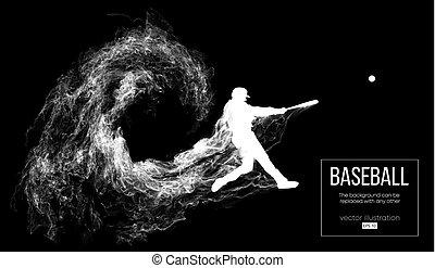 bateador, ser, golpea, pelota, silueta, otro., smoke., ...