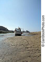bateau, à, marée basse