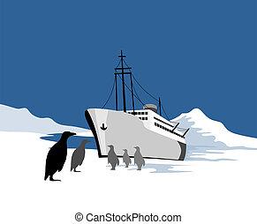 bateau, échoué, pola
