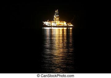 bateau, éclairé, croisière