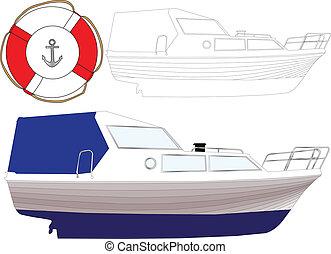 bateau, 3, -, vecteur