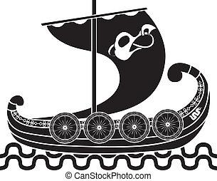 bateau, ancien, boucliers, vikings