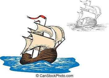 bateau, ancien, nautisme, vagues, océan