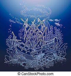 bateau, ancien, récif, sunken, corail