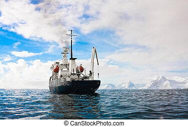 bateau, antarctique, grand