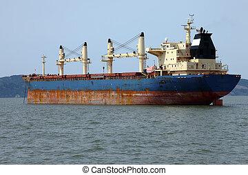 bateau, astoria., cargaison, ancré