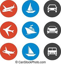 bateau, avion, voiture, icônes, -, vacances, expédition, ou, livraison, vecteur, méthode