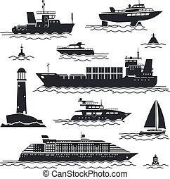bateau, bateau, icônes