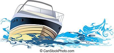 bateau, bateau rivière, mer