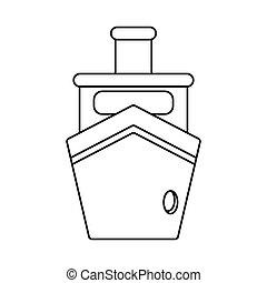 bateau bateau, vapeur, transport, contour