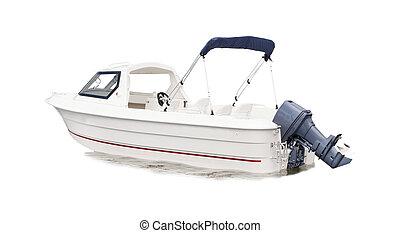 bateau, blanc, vitesse, isolé, fond
