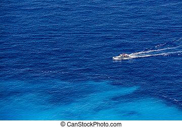 bateau bleu, mer