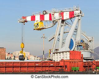 bateau, bobine, chargement, port, acier, grue, grand, cargaison